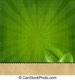verde, sunburst, retro, struttura, fondo