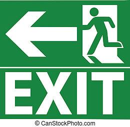 verde, uscita, segnale emergenza