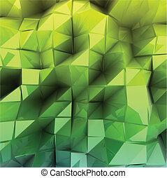 verde, vettore, triangolo, fondo, abstract.