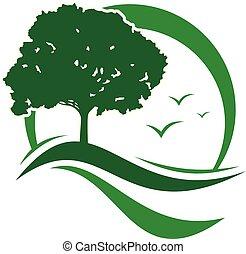 verde, vista, albero, foglie, vettore, concetto, disegno, icona