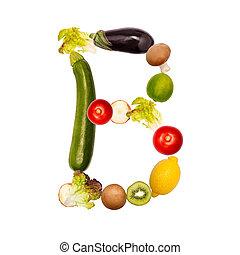 verdura, b, vario, lettera, frutte