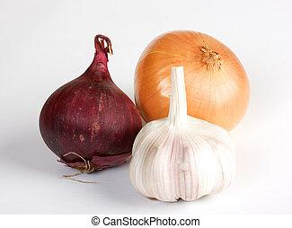 verdura, bianco, aglio, fondo, cipolla
