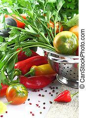 verdura, bianco, isolato, colapasta