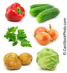 verdura, bianco, isolato, collezione, frutte