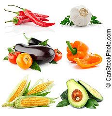 verdura, bianco, set, isolato, frutte