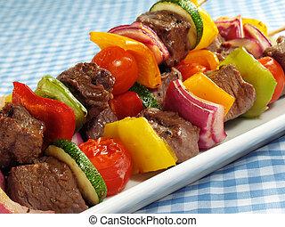 verdura, bistecca, kebabs, &