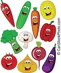 verdura, carattere, cartone animato