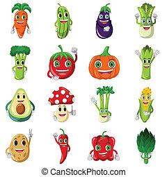 verdura, carattere, icone