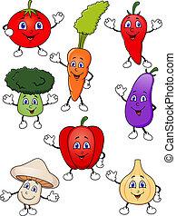 verdura, cartone animato, collezione, carino