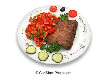 verdura, cotto ferri, vitello, filetto, insalata