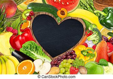 verdura, cuore, cornice, frutta, modellato