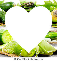 verdura, cuore, fette