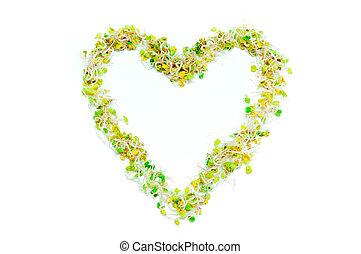 verdura, cuore, verde