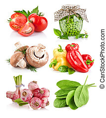 verdura, foglie, set, verde