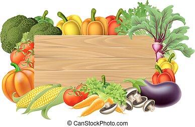 verdura, fresco, segno