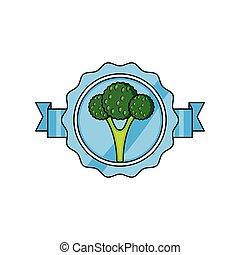 verdura, fresco, sigillo, broccolo, francobollo