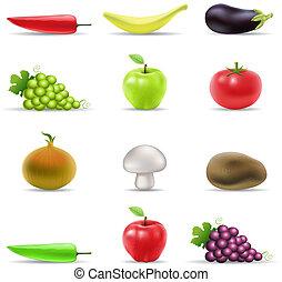 verdura, frutta, icone