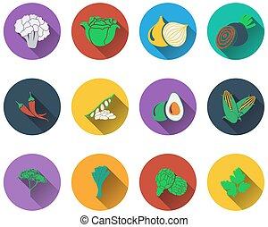 verdura, icone, set