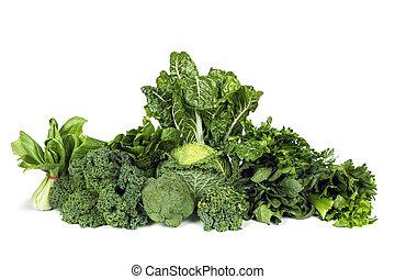 verdura in foglia, verde, isolato