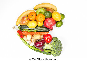 verdura, isolated., frutta, cuore
