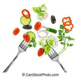 verdura, isolato, argento, mescolato, fresco, bianco, forche