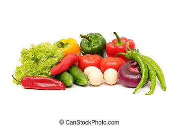 verdura, isolato, bianco