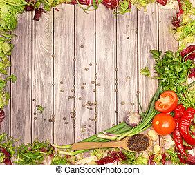 verdura, legno, fondo, spezie