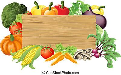 verdura, legno, illustrazione, segno
