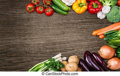 verdura, legno, text., fondo, spazio