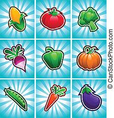 verdura, lucido, colorito