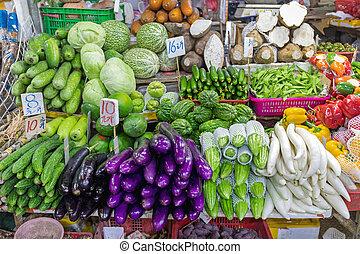 verdura, mercato, coltivatori, bancarella