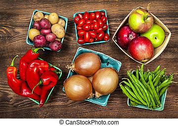 verdura, mercato, frutte