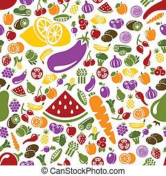 verdura, modello, seamless, frutte