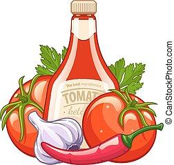 verdura, organico, bottiglia ketchup, ingredienti