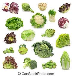 verdura, raccogliere, cavolo, verde
