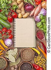 verdura, ricetta, libro, vuoto, fresco, assortimento