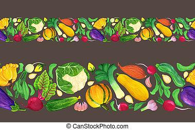 verdura, seamless, acquarello, fresco, bordo