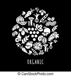 verdura, set, nero, digitale, icone