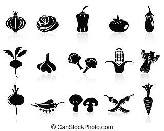 verdura, set, nero, icone