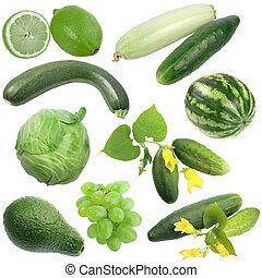 verdura, set, verde, frutte