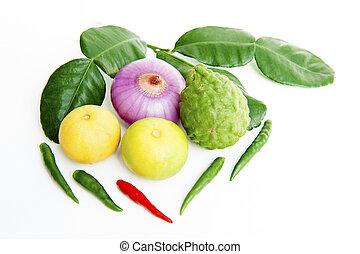 verdura, sfondo bianco