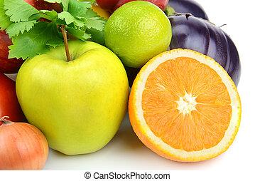 verdura, sfondo bianco, frutte
