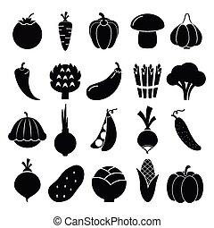 verdura, silhouette, icone
