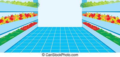 verdura, supermarket., numero