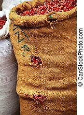 verdura, tradizionale, india., rosso, mercato, paprica