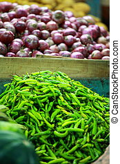 verdura, tradizionale, verde, india., mercato, paprica