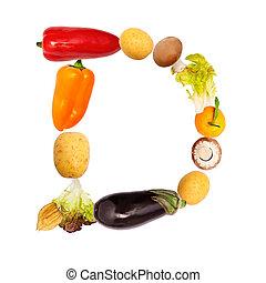 verdura, vario, d, lettera, frutte