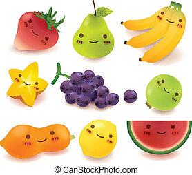 verdura, vect, frutta, collezione