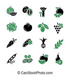 verdura, verde, digitale, nero, icone