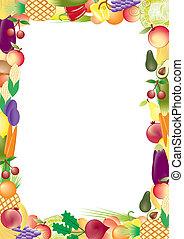 verdura, vettore, cornice, frutte